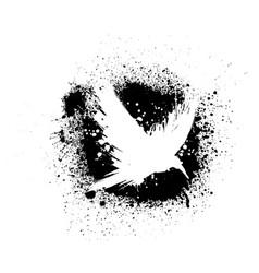 White grunge raven silhouette vector
