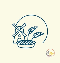 Windmill and grain Ears of rye and pie Logo for vector