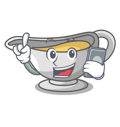 With phone a character dish pouring sauce boat vector