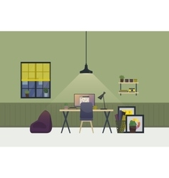 Workspace spacious room interior in evening vector image