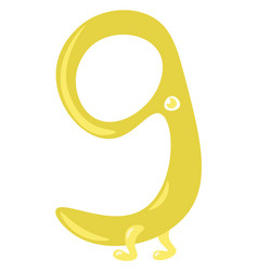 Yellow figurine shaped numerical number nine or vector
