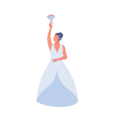 Young woman dropping wedding bouquet bride vector