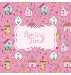 Cute Bird Houses Card - Spring Time vector image