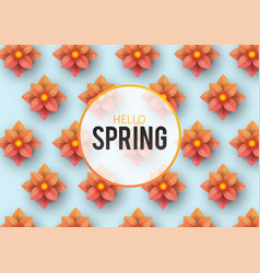 hello spring floral greeting card flowers vector image
