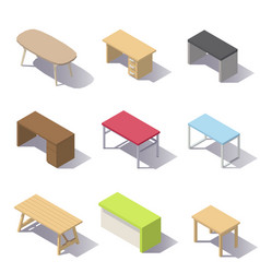 isometric office tables vector image