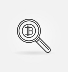 magnifying glass with bitcoin concept icon vector image vector image