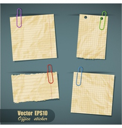 Set of realistic scraps of paper with clips vector image vector image