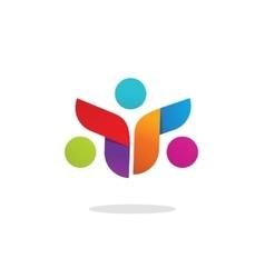Three people community logo abstract symbol vector
