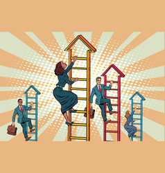 business team climbs up the stairs vector image