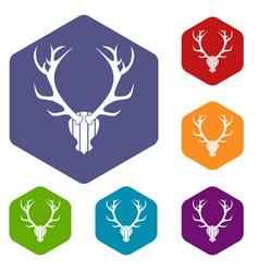 deer antler icons set vector image vector image