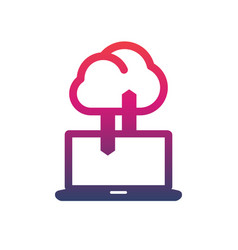 sync with cloud icon data upload connection vector image