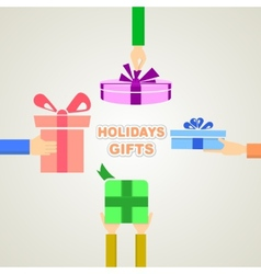 Holidays gifts vector image vector image