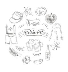 October fest doodle set Vintage vector image