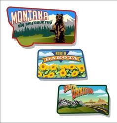 retro of Montana and Dakotas vector image vector image