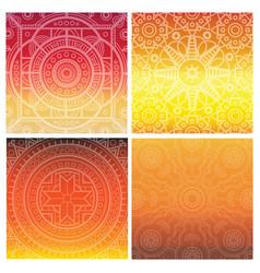set of indian mandala on orange gradient vector image