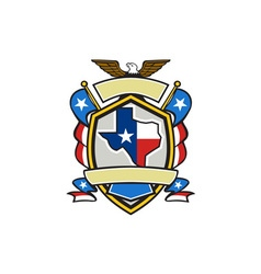 Texas State Map Flag Coat of Arms Retro vector image
