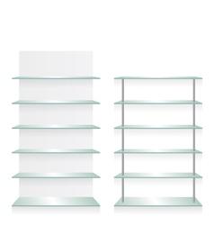Empty shop glass shelves vector image vector image