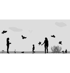 Family in the Park Feeding the Birds vector image vector image