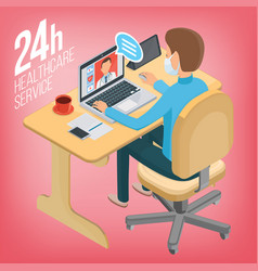 online consultation with a doctor from the clinic vector image vector image