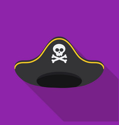 pirate hat icon in flat style isolated on white vector image vector image
