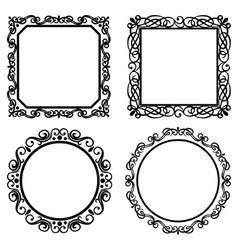 Set of vintage frames borders vector