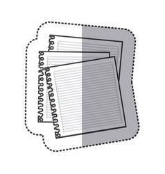 silhouette notebooks school icon vector image