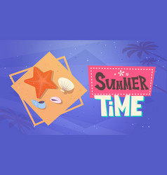 summer time vacation sea travel retro banner vector image vector image