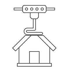 3d printer printing house icon outline vector