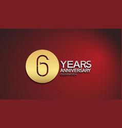 6 years anniversary logotype with golden circle vector