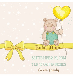 Baby shower or arrival card - with bear vector