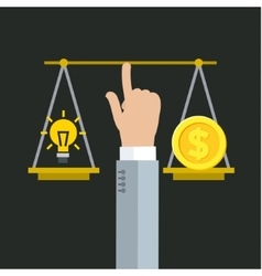 Balancing between money and idea vector image
