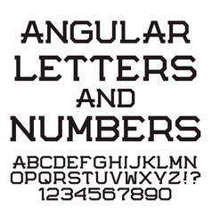 black angular letters and numbers stylish font vector image