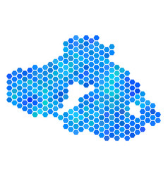 Blue hexagon greek lesbos island map vector