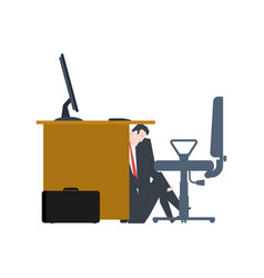 businessman is hiding under table manager is lurk vector image