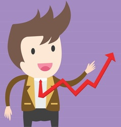 Businessman pulling up a graph business concept vector