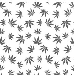 Cannabis seamless pattern marijuana leaf gray vector