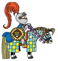 cartoon knight horseman vector image