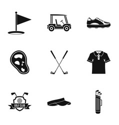 championship golf icons set simple style vector image
