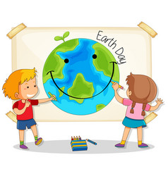 children drawing earth day vector image