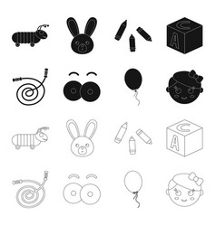 Children toy blackoutline icons in set collection vector