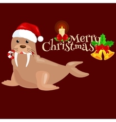 Christmas walrus in a cap and with candy in your vector
