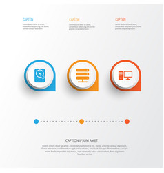 computer icons set collection of database hdd vector image