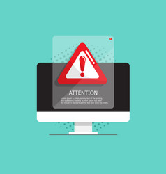 computer with attention warning sign vector image
