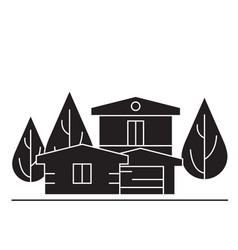 country house black concept icon country vector image