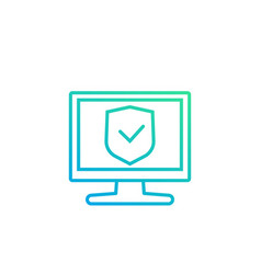 cyber security icon with pc vector image