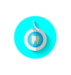 Dental floss icon in flat design vector