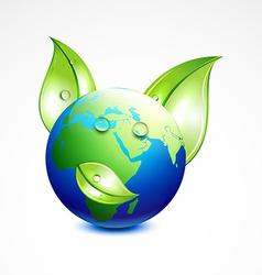 Earth with leaf vector