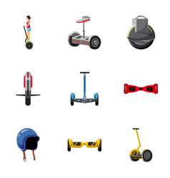 Electric scooter icons set cartoon style vector