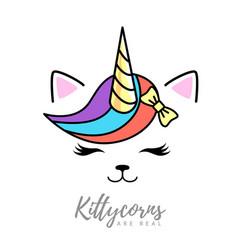 Fantasy animal cat kittycorn vector