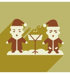 Flat icon with long shadow children sing carols vector